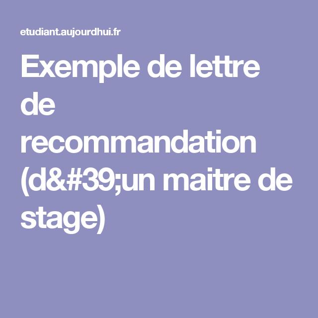 Exemple De Lettre De Recommandation D Un Maitre De Stage