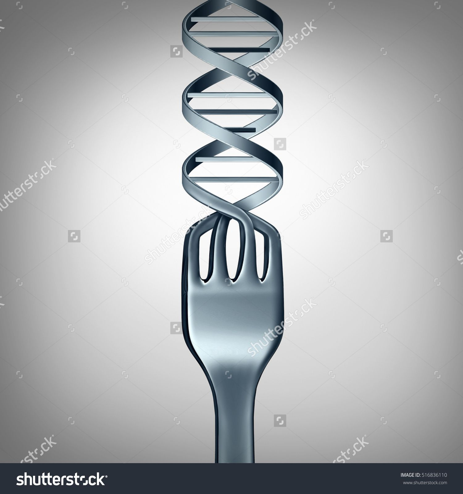 Dna Food And Genetically Modified Foods Concept As Metal Dinner Fork