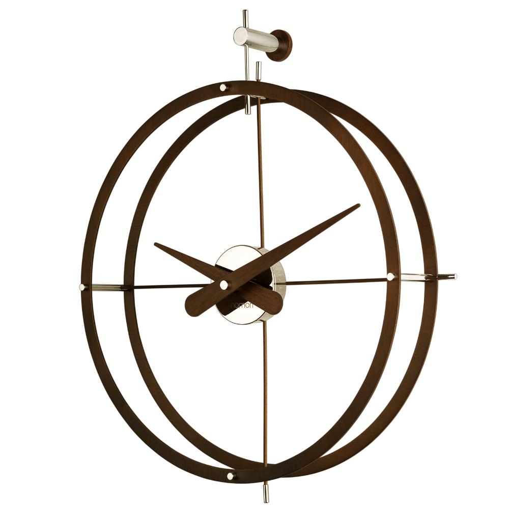 Reloj clock nomon dos puntos n hecho en madera de nogal y - Reloj de pared moderno ...