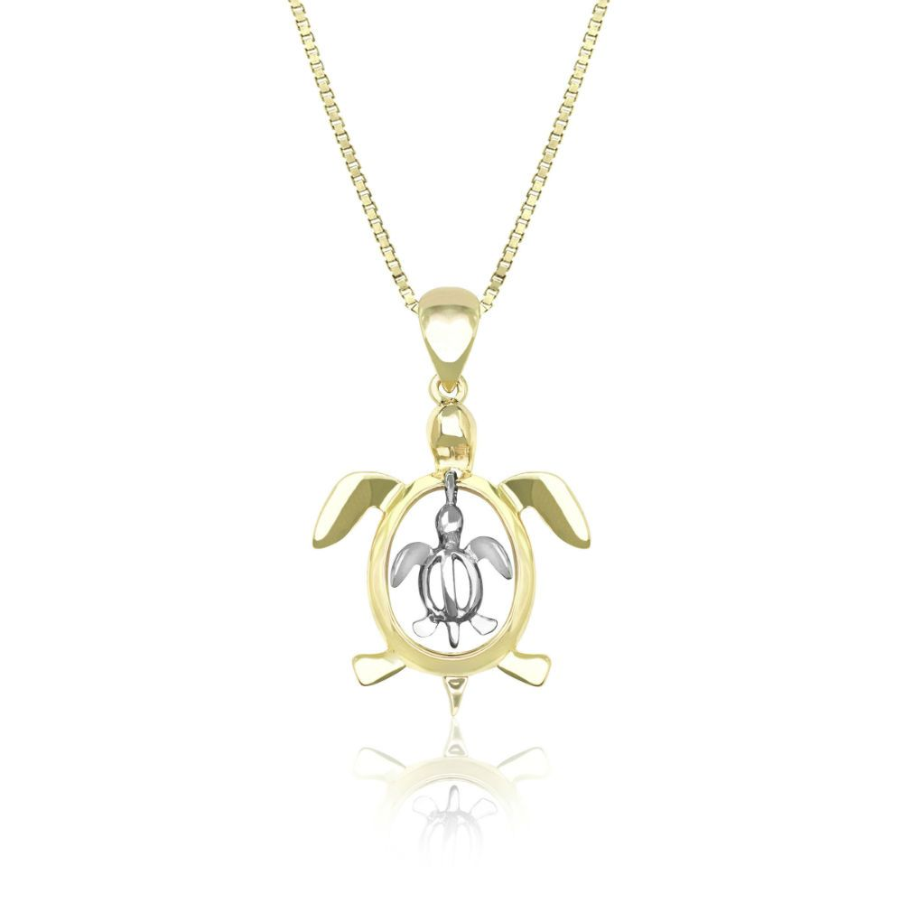 14k yellow and white gold mother baby petro honu pendant a symbol 14k yellow and white gold mother baby petro honu pendant a symbol of good luck aloadofball Image collections