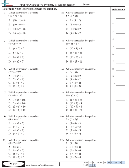 Properties Worksheets Free Math Worksheets Teaching Math Math Properties
