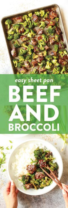 Sheet Pan Beef and Broccoli - Say hello to the easiest beef and broccoli of your life! No fuss less dishes yet it's 10000x better than take-out. Win-win! #beefandbroccoli