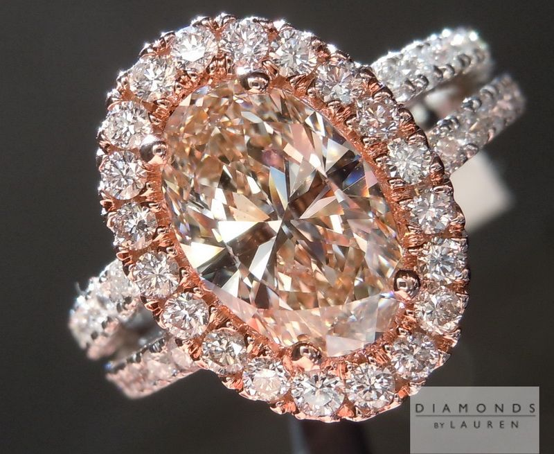 Light chocolate diamond rose gold halo ovaldiamond Jewelry 7