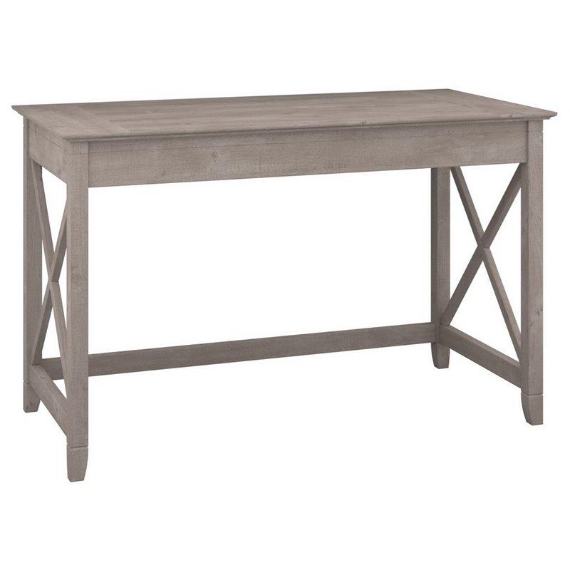 Bush Furniture Key West 48w Writing Desk In Washed Gray In 2020 Bush Furniture Grey Writing Desk Grey Desk