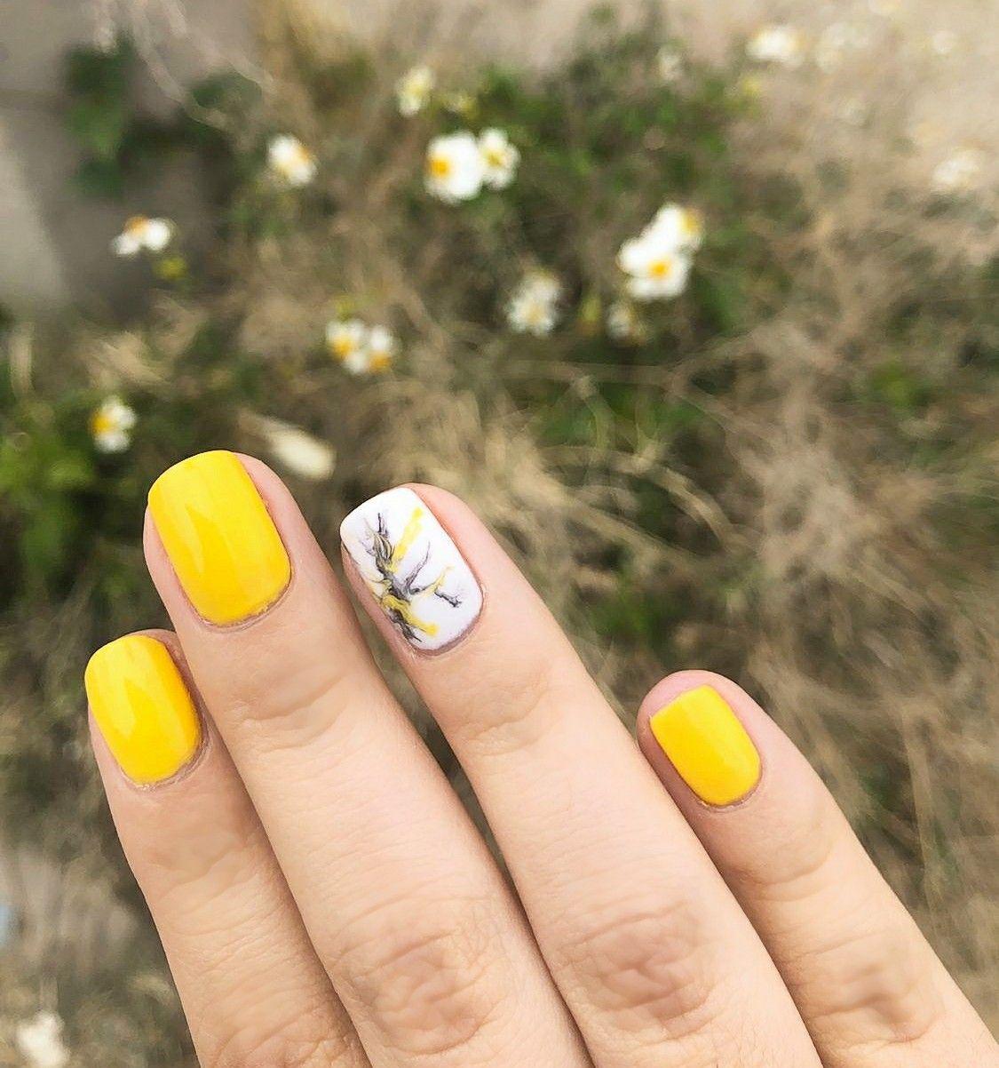Nails Yellow Uñas Gelish Primavera Marmol En 2020 Uña