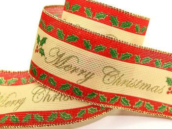 10 meters Christmas Ribbon wire edged