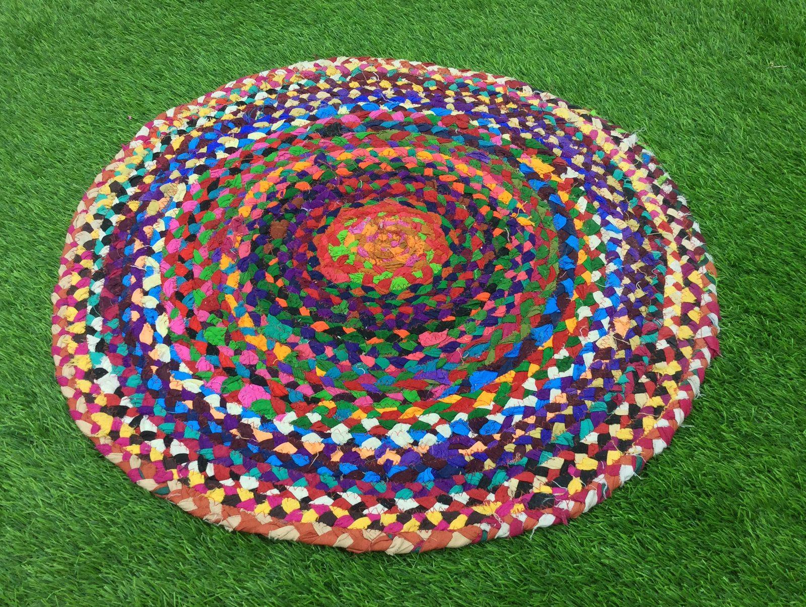 2x2 Ft Handmade Rug Multi Jute Rug Round Rug Door Mat Home Rug Decorative Rug Area Rug Floor Rug Carpet Runner Crochet Rag R Jute Rug Floor Rugs Rugs On Carpet