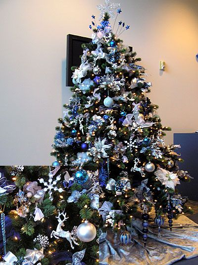 Blue and silver themed Christmas tree.
