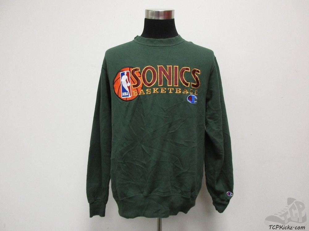 Vtg 90s Champion Seattle Super Sonics Crewneck Sweatshirt