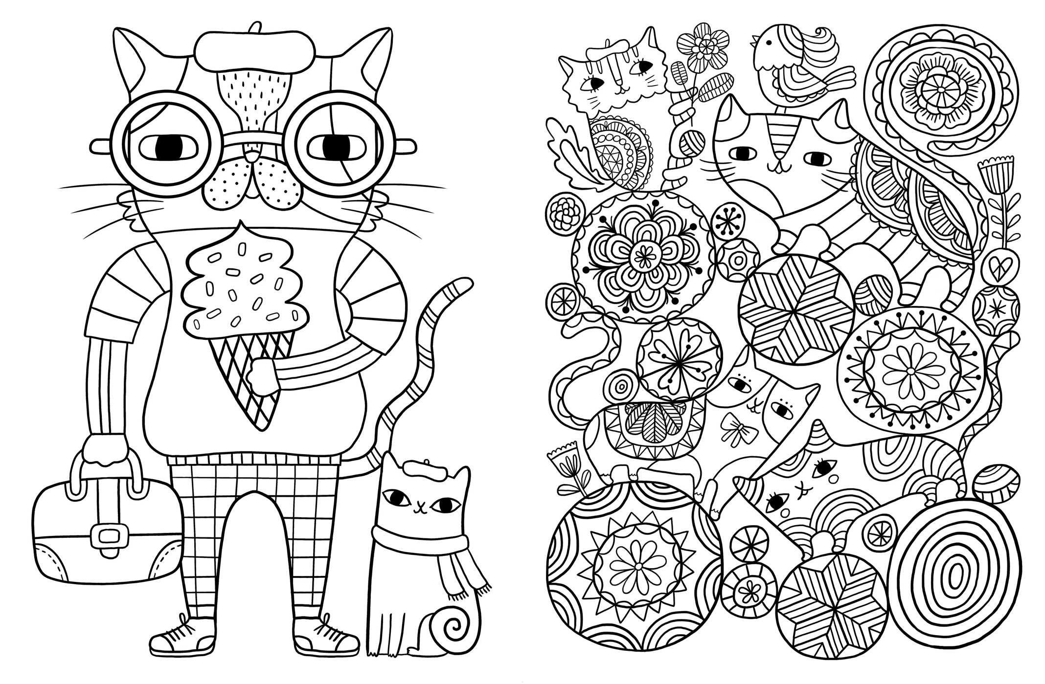 Posh Adult Coloring Book Cats Kittens for fort Creativity
