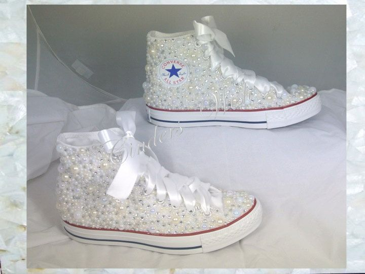 High top Luxury pearl sparklers   All over converse   Bridal converse    Wedding converse   pearl converse   bling converse   prom converse by  CindersWish on ... b8bfc1590