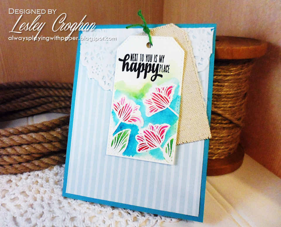 Handmade card by Lesley Croghan using a sentiment stamp from the Happy Place set by Verve.  #vervestamps
