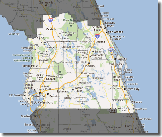 Central Florida Map Showing Cities | Verkuilenschaaij