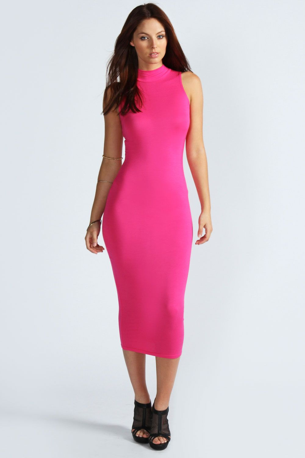 Ariana LUXE Black Lace Panel Bodycon Midi Dress | Pink Boutique ...