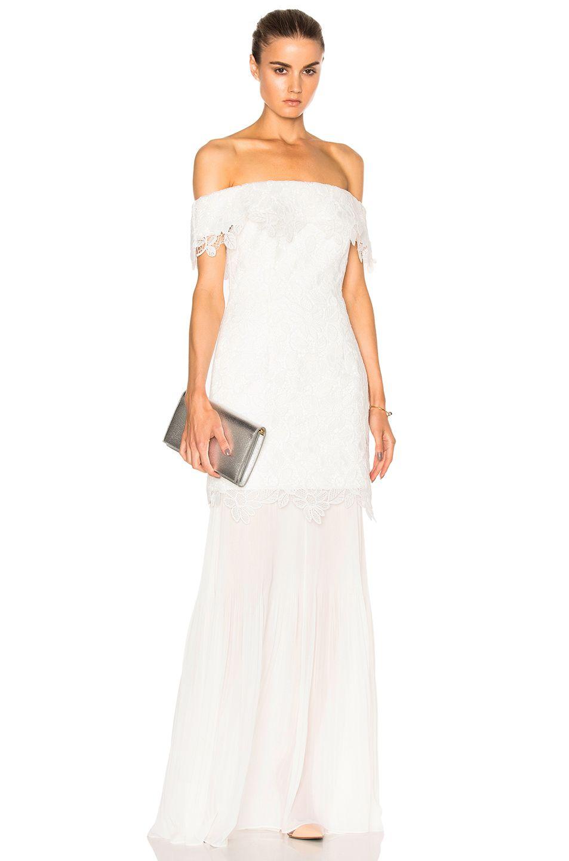 self-portrait Off Shoulder Bridal Dress in White   FWRD