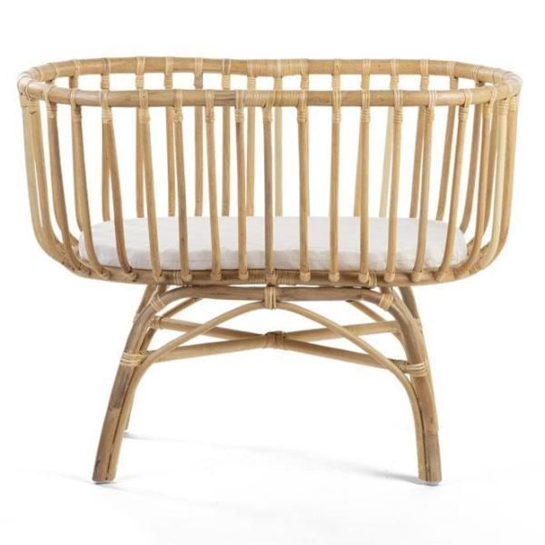 Beautiful Rattan Cradle With Mattress By Belgian Designers