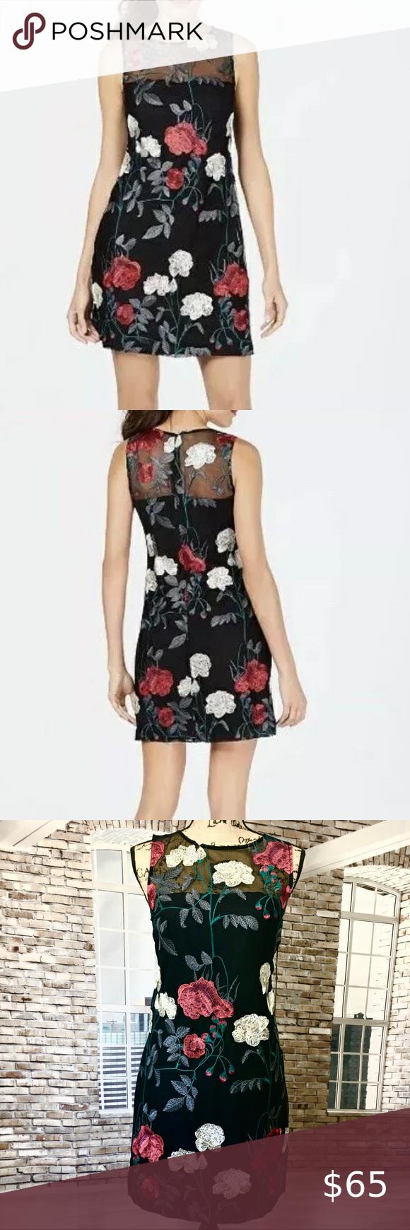 Vince Camuto Mesh Floral Dress Chiffon Shift Dress Mesh Floral Dress White Short Dress [ 1740 x 580 Pixel ]