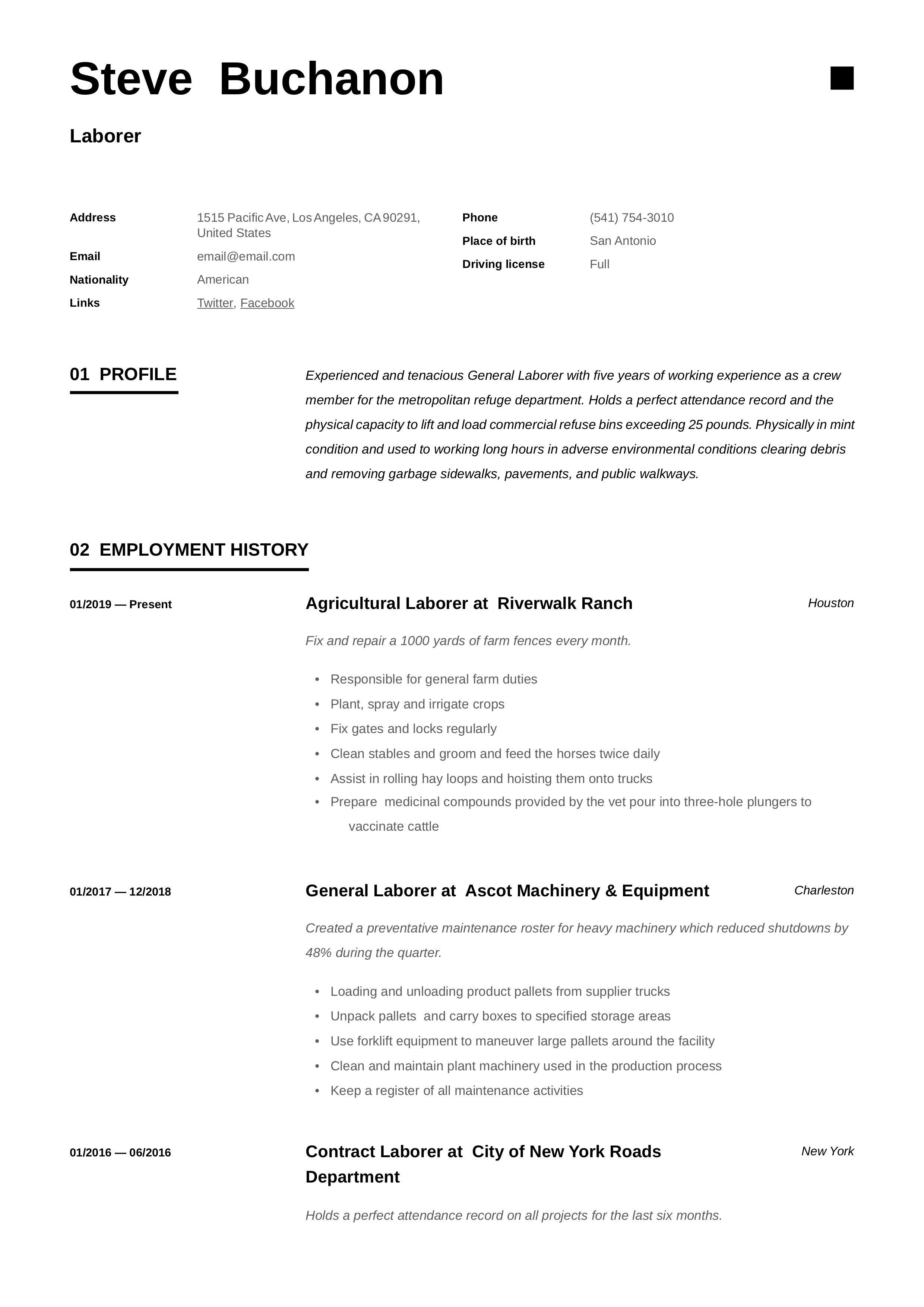 General Laborer Resume Template in 2020 Sample resume