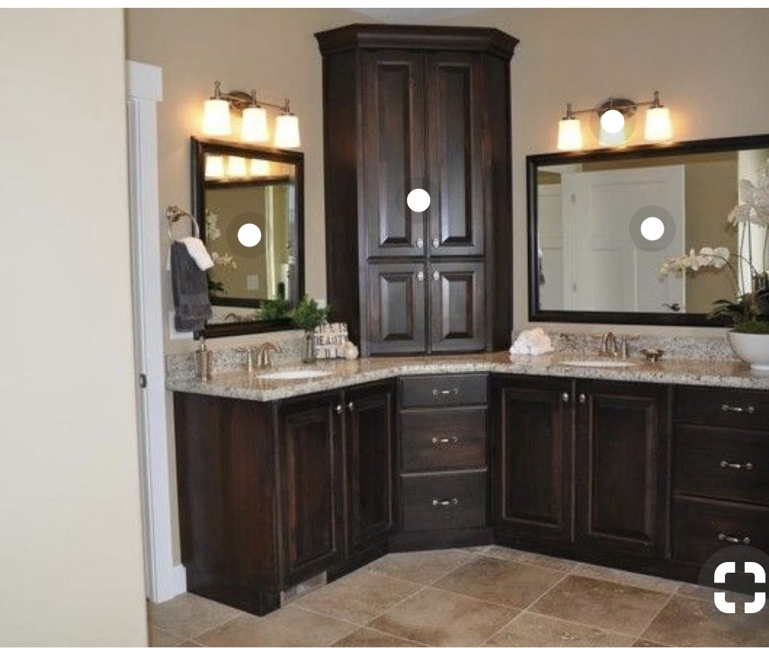 Cabinet Layout Not This Dark Bathroom Remodel Master Corner Bathroom Vanity Bathroom Corner Cabinet