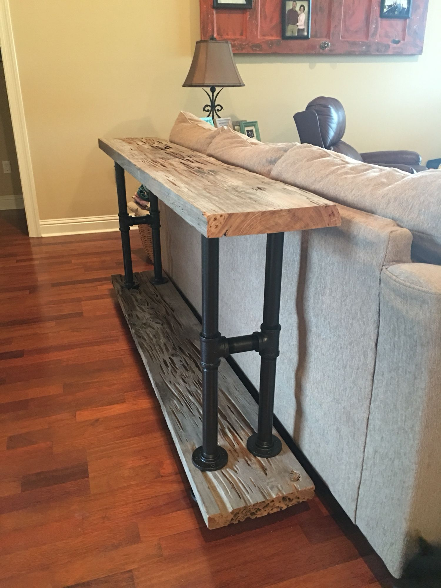Make sofa table - Cypress And Industrial Pipe Make The Perfect Sofa Table