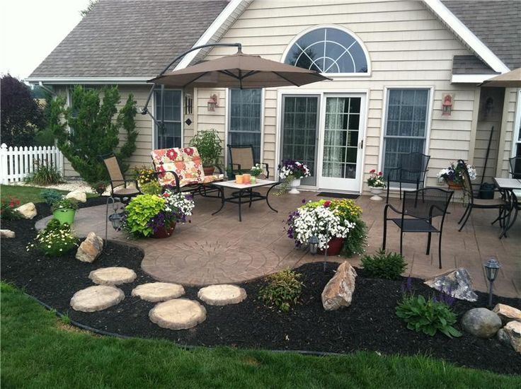Stamped Concrete Patio Love The Shape And Landscaping