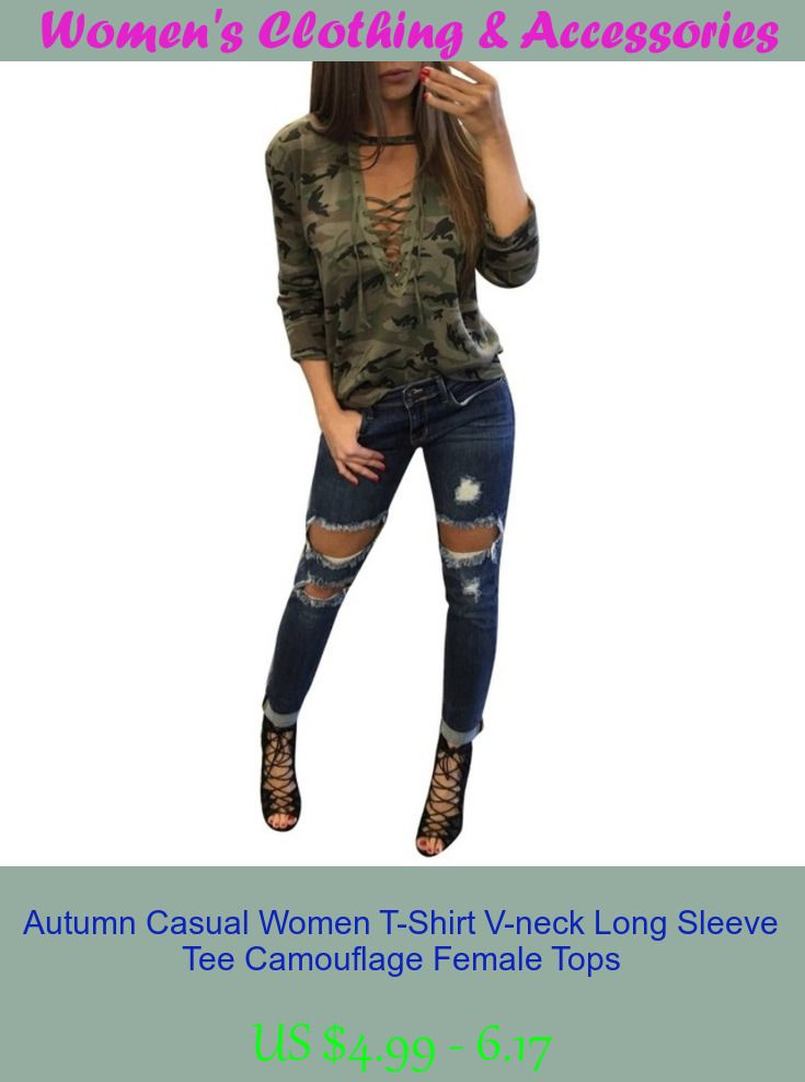 Autumn Casual Women T-Shirt V-neck Long Sleeve Tee Camouflage Female Tops