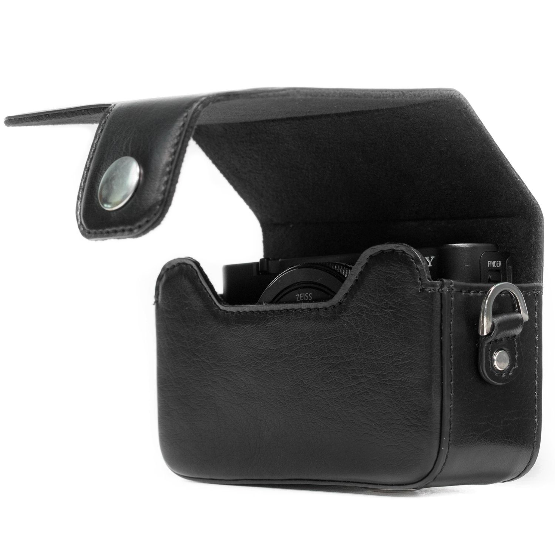 Megagear Sony Cyber Shot Dsc Hx90v Leather Camera Case With Strap Black Mg885 Camera Case Sony Compact Camera Compact Camera