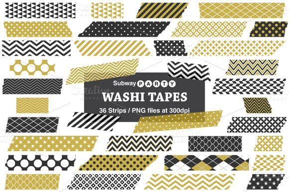Gold Black Washi Tape Strips Washi Tape Halloween Washi Tape Washi