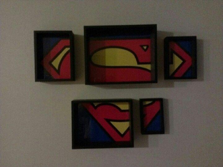 Superman poster, divided up, put into a nested frame set. #superman #dc #diy