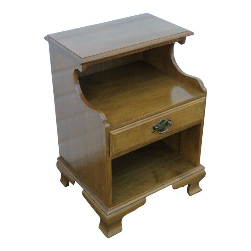 American Furniture Makers 20th Century: Vintage Ethan Allen Maple Early American Style Nightstand