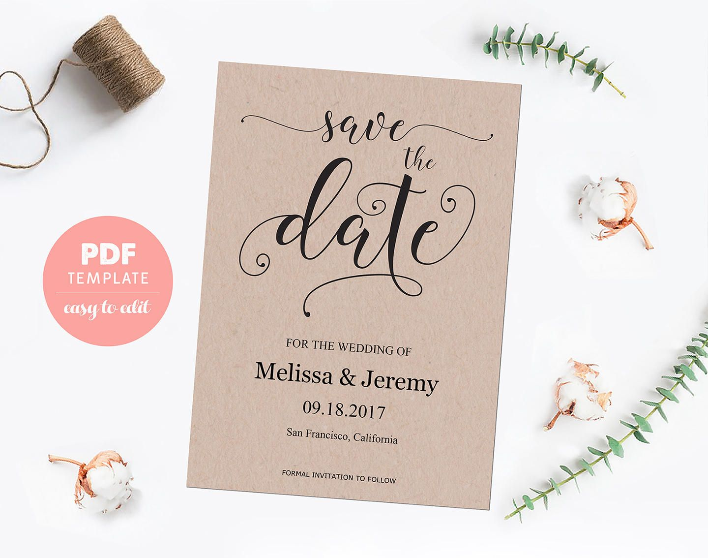 Save The Date Template Card Wedding Pdf Template Card Editable