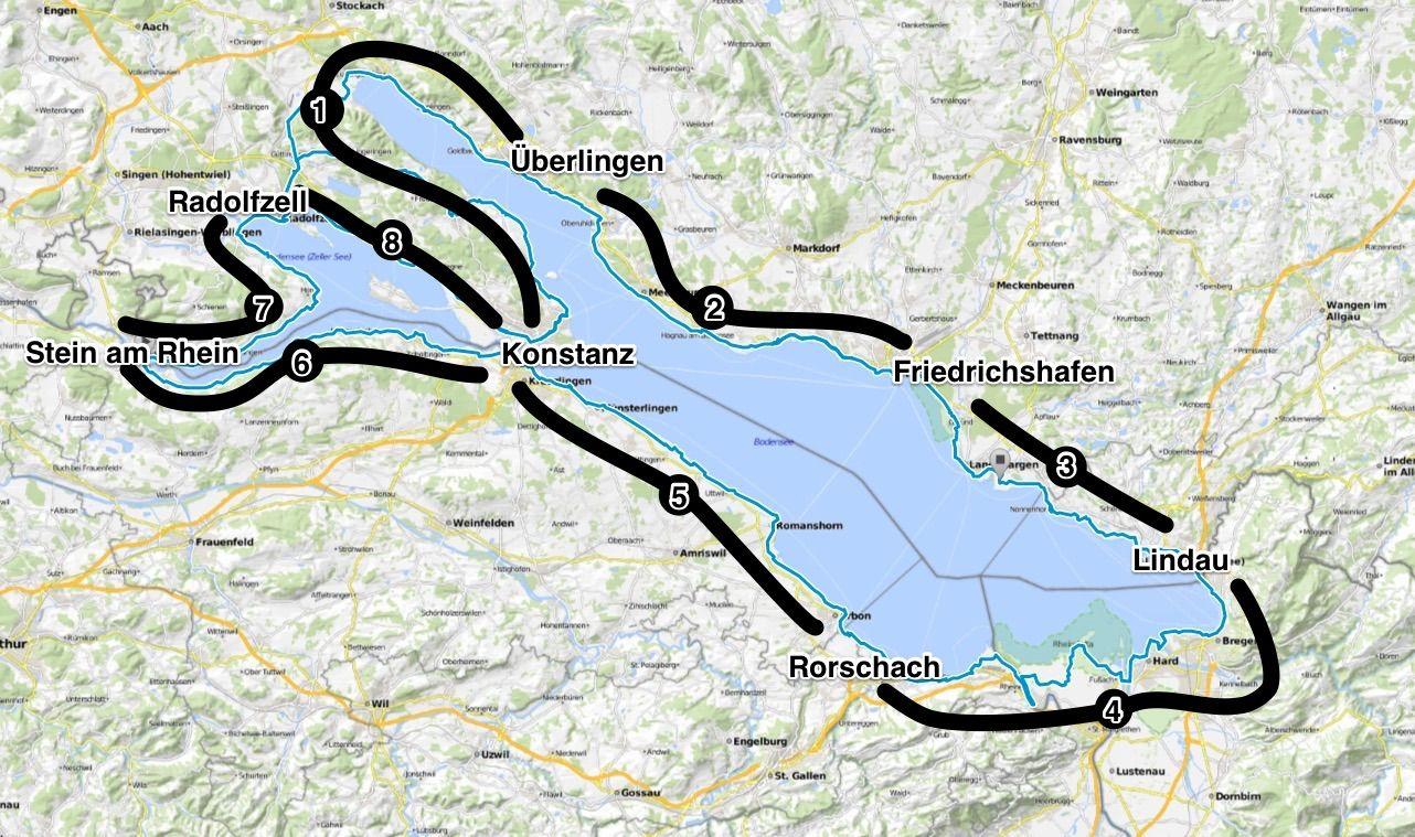 Karte Bodensee Radweg Etappen Karte Bodensee Radtour Bodensee Radweg