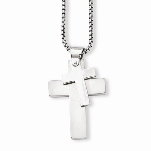 Stainless Steel Polished Crosses Pendant Necklace