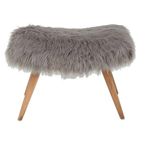 tabouret en fausse fourrure grise vilma salon in bi pinterest. Black Bedroom Furniture Sets. Home Design Ideas