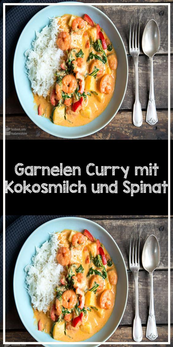 Garnelen Curry mit Kokosmilch und Spinat