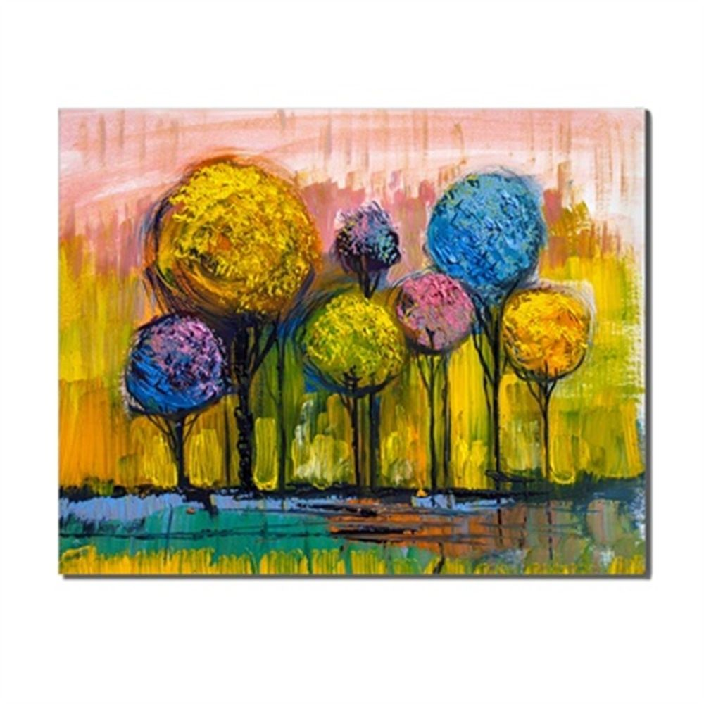 Photo of Laeacco Colorful Trees Flowers Landscape Oils Painting Canvas Poster Prints For Bed Parlor Living Room Wall Art Home Decoration