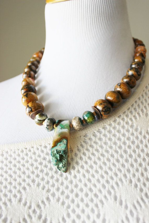 Green pendant necklace brown stone strand by StarsonMarsJewelryCo