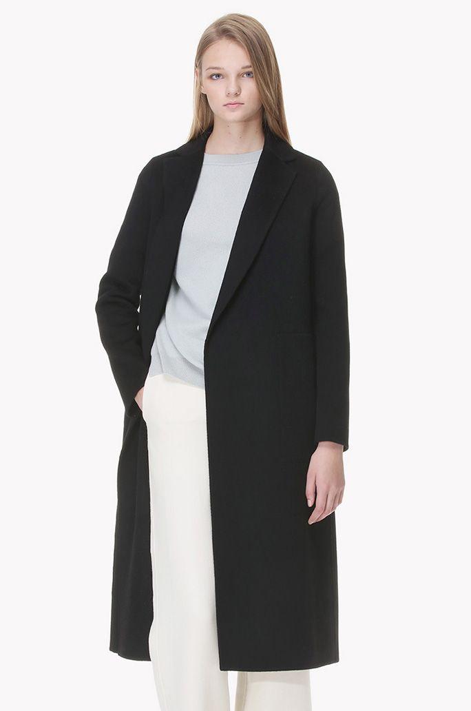 Inside strap cashmere long coat