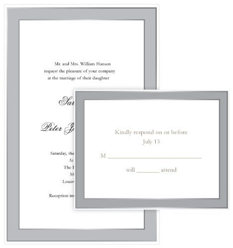 Gartner Studios Elegant Border Wedding Invitation Kit, Platinum, 50 ...