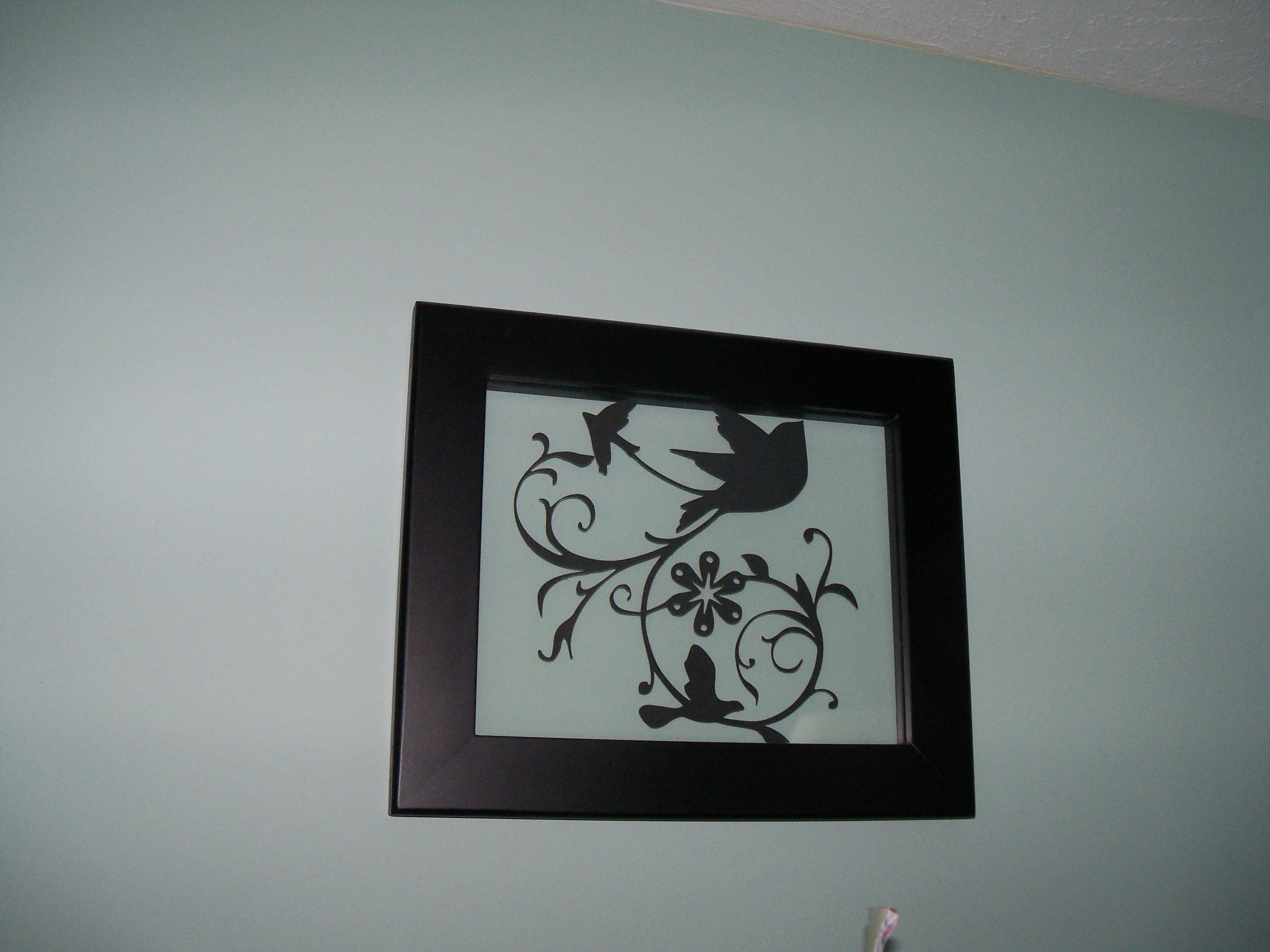 glass floating frame from target, cricut cutout silhouette added ...