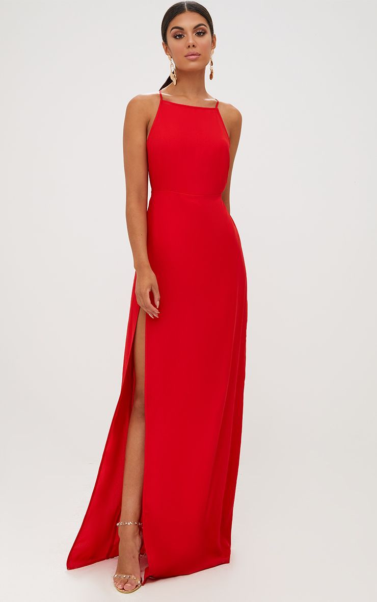 Red Strappy Back Detail Chiffon Maxi Dress Chiffon Maxi Dress Red Homecoming Dresses Maxi Dress