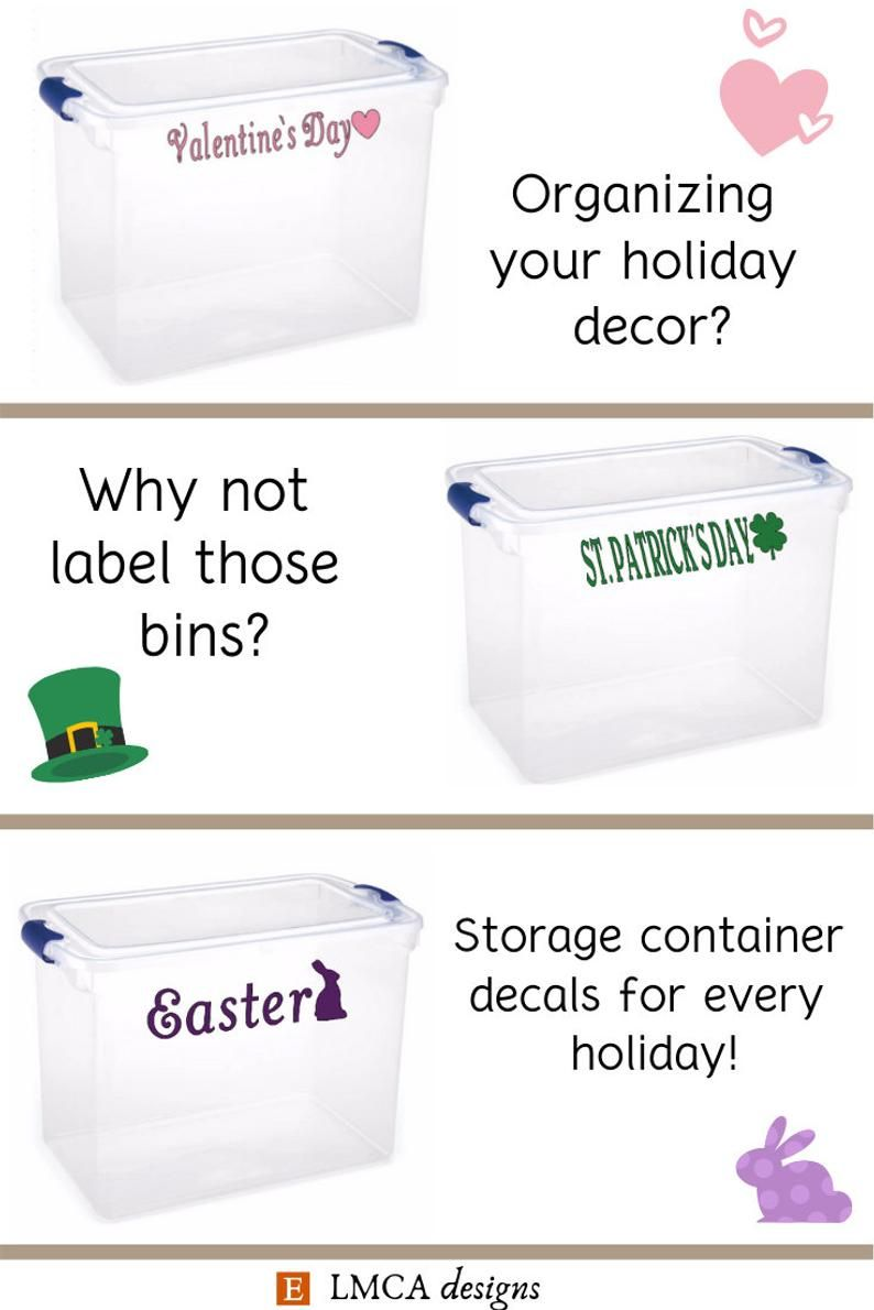 Storage container decal labels organization Christmas