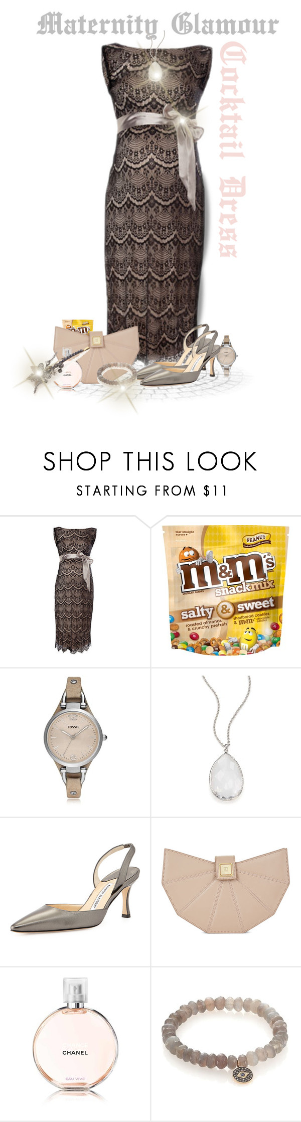 """Maternity Glamour - Cocktail Dress"" by sasane ❤ liked on Polyvore featuring FOSSIL, Ippolita, Manolo Blahnik, Hervé Léger, Sydney Evan and Jane Tran"