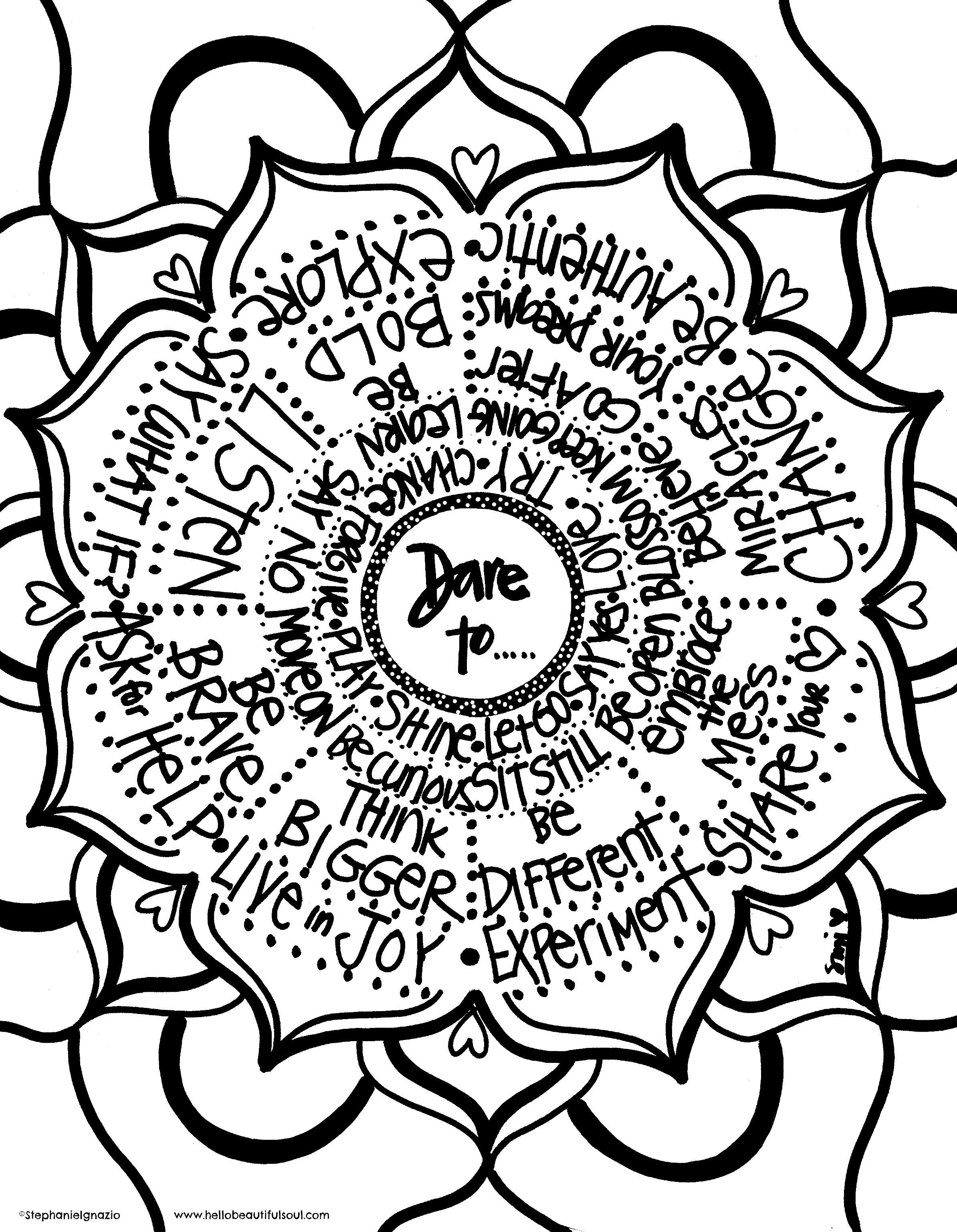 Dare To Coloring Page Free Printable On Hello Beautiful Soul Blog