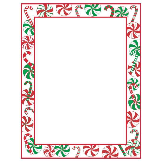 Peppermint Party Christmas Border Holiday Printer Paper Is Perfect
