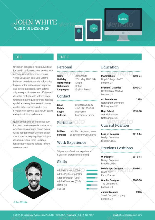 Illustrator Resume Templates 02_Creative_Resume_Preview 636×900  Cv Ideas  Pinterest