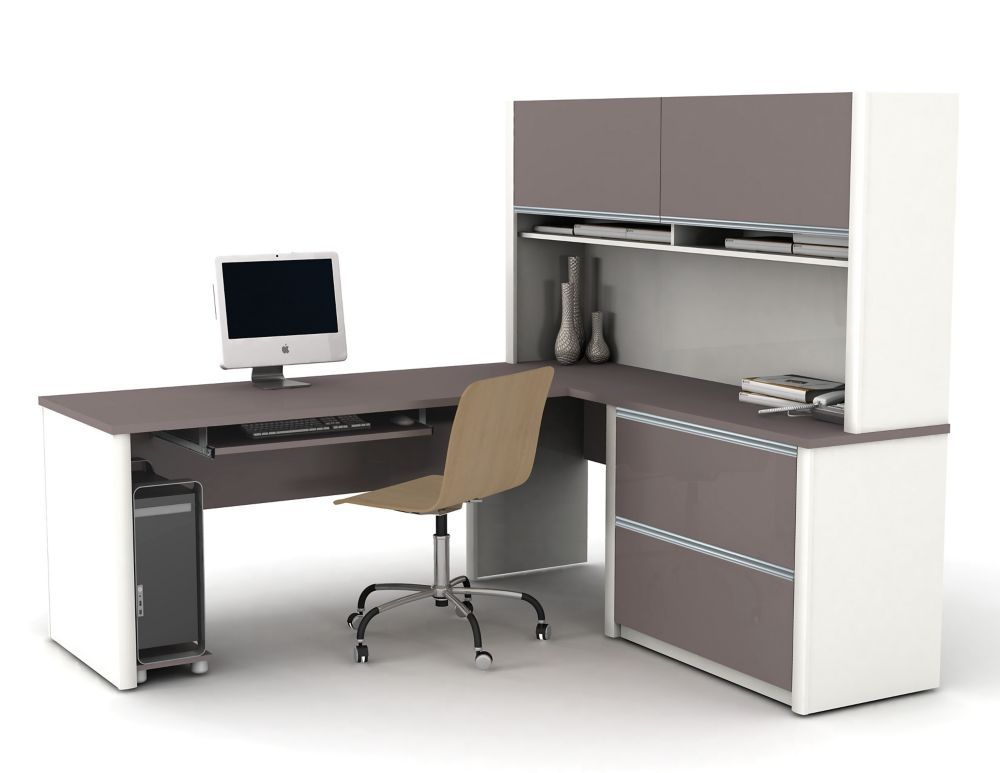 Connation 71 1 Inch X 65 9 Inch X 82 9 Inch L Shaped Computer Desk In Grey L Shaped Office Desk Office Desk Designs Staples Office Furniture