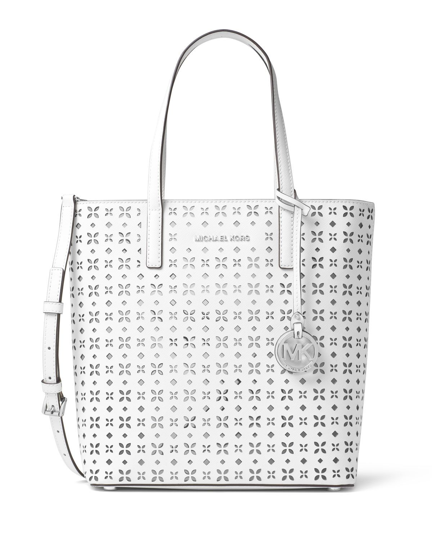 3e4ae8ce3f4 MICHAEL Michael Kors Hayley Medium Laser-Cut Tote Bag, White/Silver