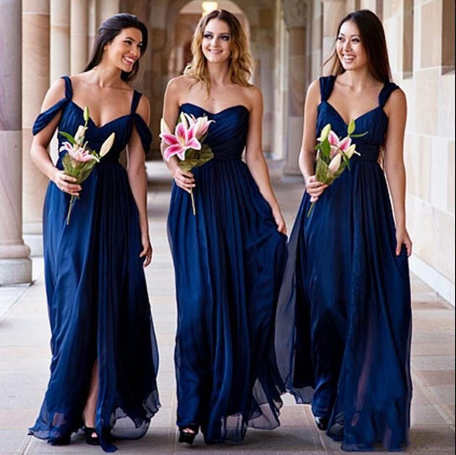 2016 navy blue chiffon bridesmaid dresses sexy side split 2016 navy blue chiffon bridesmaid dresses sexy side split sweetheart floor length a line maid of ombrellifo Choice Image