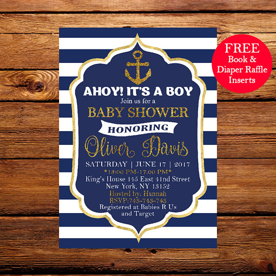 Ahoy Its A Boy Invitation Baby Shower Invite Nautical Sho